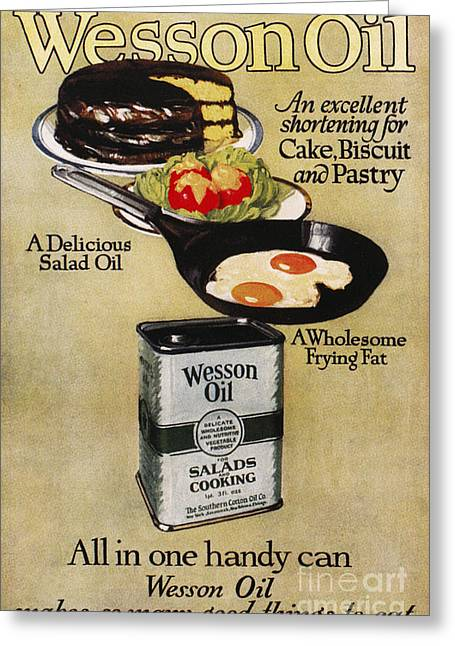 Salad Dressing Greeting Cards - Vegetable Oil Ad, 1918 Greeting Card by Granger