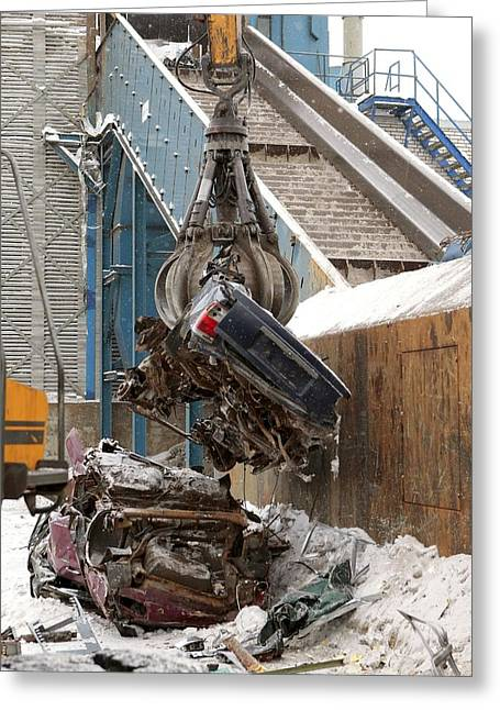 Center Part Greeting Cards - Vehicle Recycling Centre Greeting Card by Ria Novosti