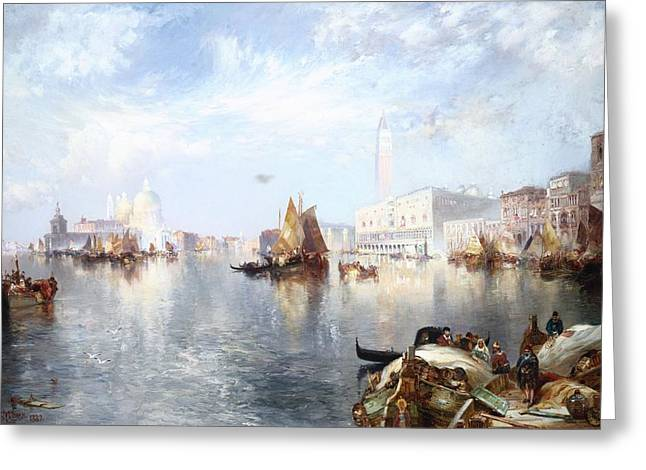 Docked Sailboats Greeting Cards - Venetian Grand Canal Greeting Card by Thomas Moran