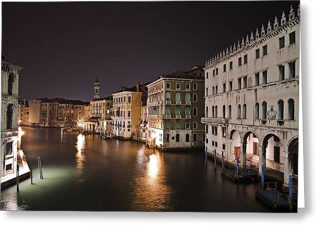 Peaceful Scene Photographs Greeting Cards - Venice by night Greeting Card by Joana Kruse