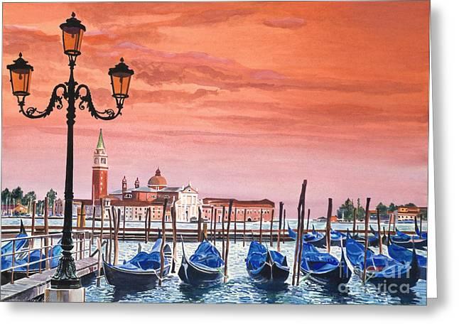 Florence Greeting Cards - Venice Gondolas Greeting Card by David Lloyd Glover