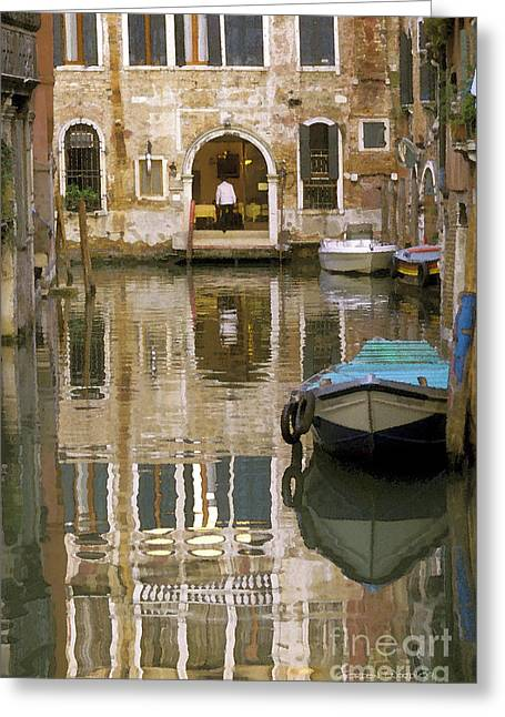 Boats In Water Photographs Greeting Cards - Venice Restaurant on a Canal  Greeting Card by Gordon Wood