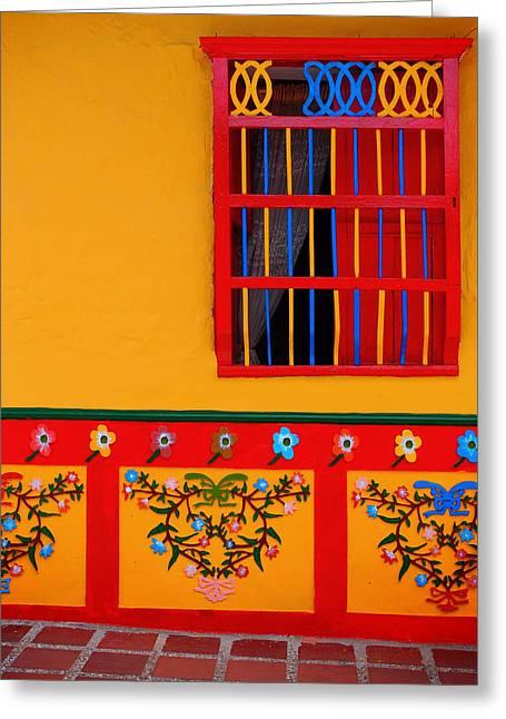 Guatape Greeting Cards - Ventana Amarilla Greeting Card by Skip Hunt