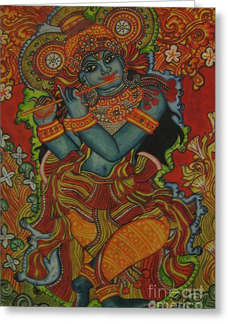 Kerala Murals Greeting Cards - Venugopala Greeting Card by Deepa Padmanabhan