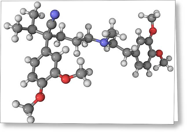Molecular Structure Greeting Cards - Verapamil Drug Molecule Greeting Card by Laguna Design