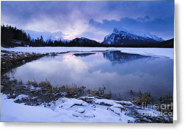 Rundle Greeting Cards - Vermillion Lakes at dawn. Greeting Card by Ginevre Smith