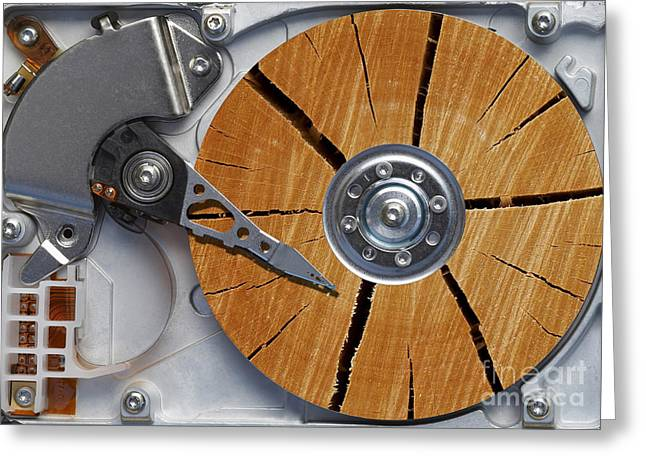 Harddrive Greeting Cards - Very Old Hard Disc Greeting Card by Michal Boubin