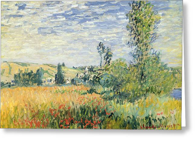 Masterpiece Paintings Greeting Cards - Vetheuil Greeting Card by Claude Monet