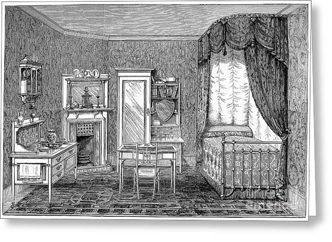 Victorian Bedroom, 1884 Greeting Card by Granger