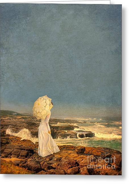Young Lady Greeting Cards - Victorian Lady by the Sea Greeting Card by Jill Battaglia