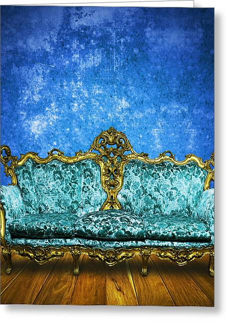 Studio Lighting Greeting Cards - Victorian Sofa In Retro Room Greeting Card by Setsiri Silapasuwanchai