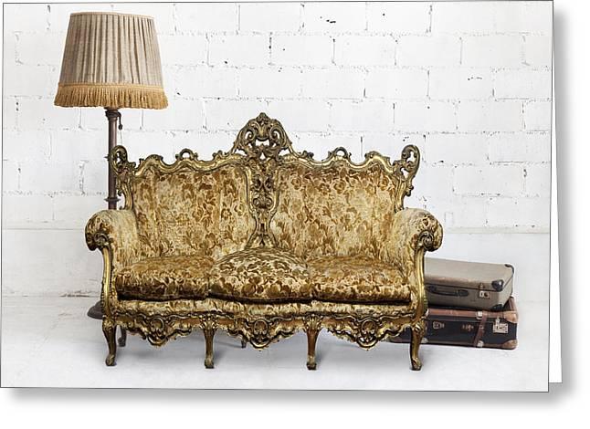 Empty Chairs Greeting Cards - Victorian Sofa In White Room Greeting Card by Setsiri Silapasuwanchai