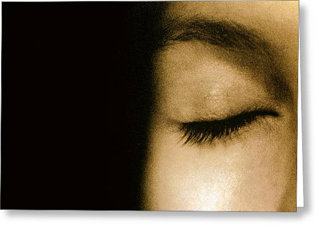 Eyebrow Greeting Cards - View Of A Womans Closed Eye Greeting Card by Cristina Pedrazzini