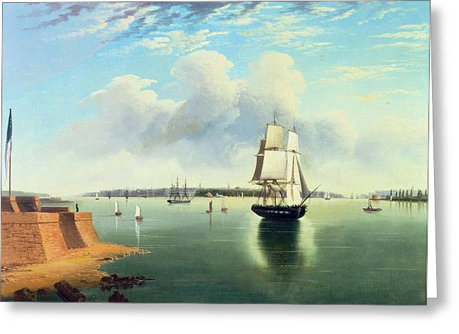 Liberty Island Greeting Cards - View of New York from Bedloes Island Greeting Card by Joseph B Pringle