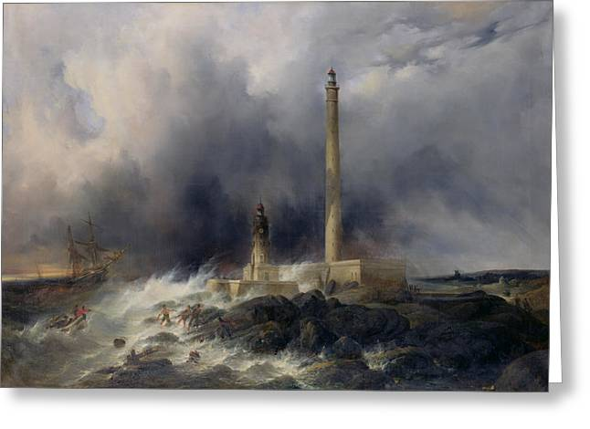 1876 Greeting Cards - View of the Lighthouse at Gatteville Greeting Card by Jean Louis Petit