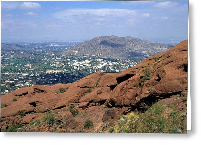 Haze Greeting Cards - View Overlooking Phoenix, Arizona Greeting Card by Stacy Gold
