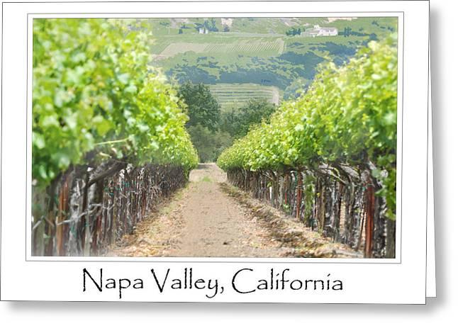 Napa Valley Vineyard Digital Art Greeting Cards - Vineyard in Spring Greeting Card by Brandon Bourdages