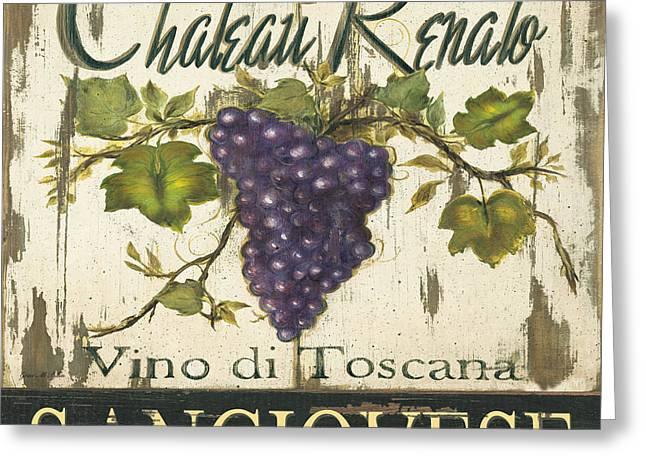 Wine-glass Greeting Cards - Vineyard Red Wine Sign Greeting Card by Grace Pullen