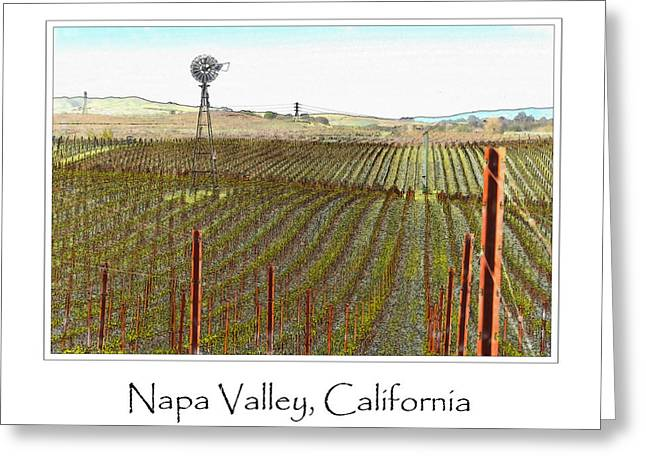 Viticulture Digital Greeting Cards - Vineyard with Windmill and Blue Sky Greeting Card by Brandon Bourdages