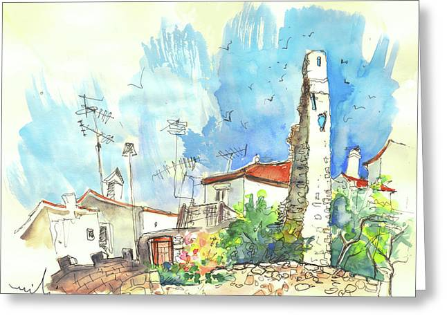 Townscape Drawings Greeting Cards - Vinhais in Portugal 02 Greeting Card by Miki De Goodaboom