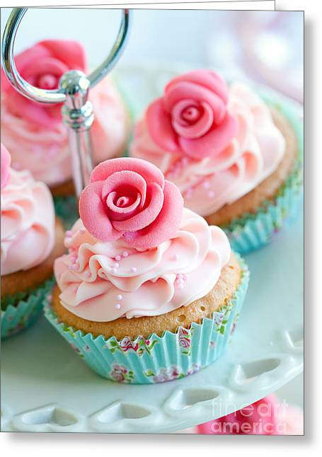 Tea Party Greeting Cards - Vintage cupcakes Greeting Card by Ruth Black