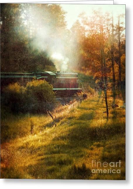 Express Greeting Cards - Vintage Diesel Locomotive Greeting Card by Jill Battaglia