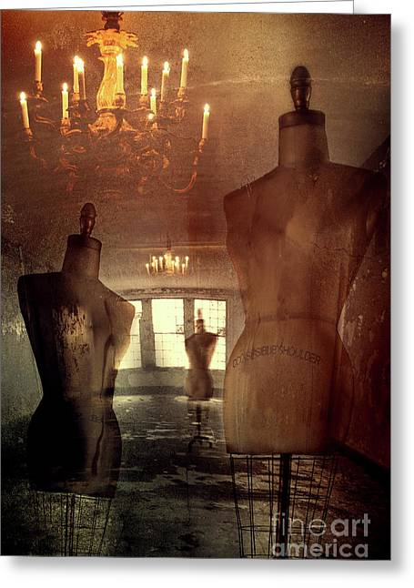 Tailor Greeting Cards - Vintage dressforms with abstract grunge background Greeting Card by Sandra Cunningham