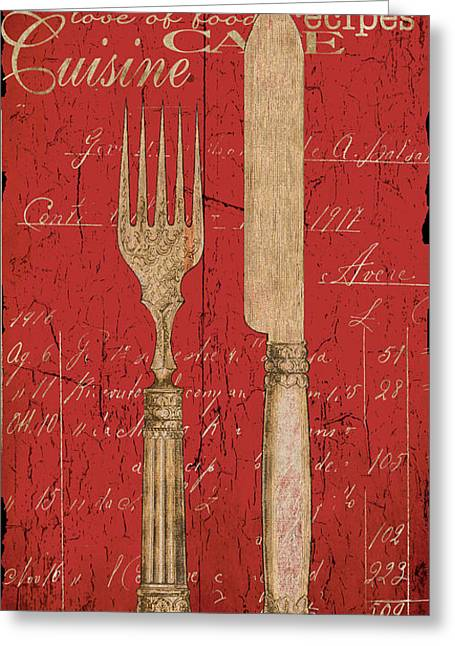 Dine Greeting Cards - Vintage Kitchen Utensils in Red Greeting Card by Grace Pullen