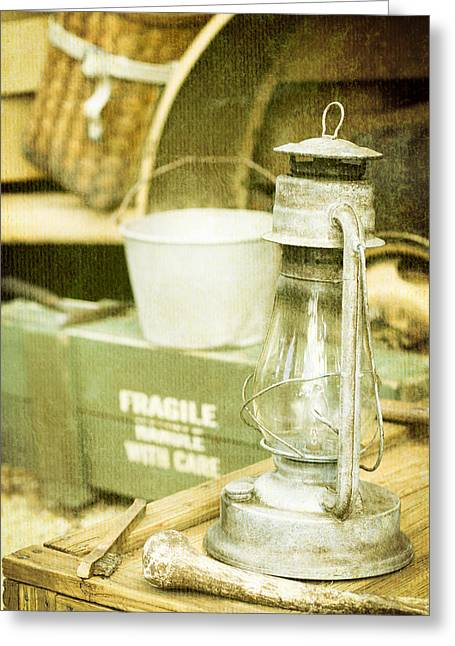 Old Relics Greeting Cards - Vintage lamp Greeting Card by Tom Gowanlock