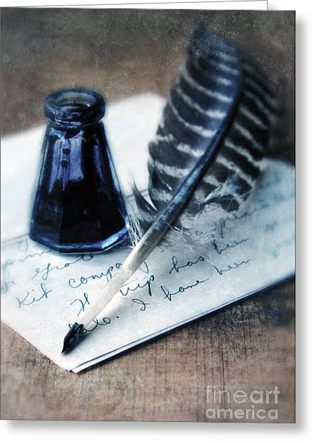 Historical Documents Greeting Cards - Vintage Letter and Quill Pen Greeting Card by Jill Battaglia