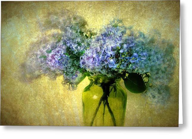 Texture Floral Greeting Cards - Vintage Lilac Greeting Card by Jessica Jenney