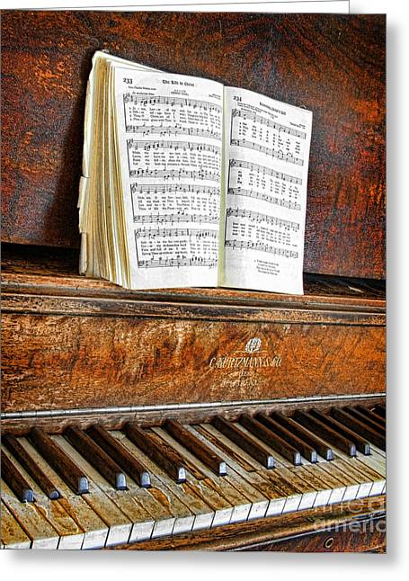 Dilapidated Greeting Cards - Vintage Piano Greeting Card by Jill Battaglia