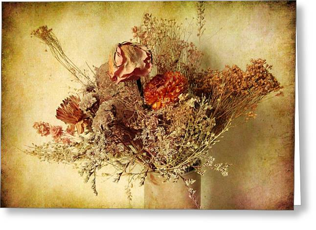 Textured Floral Greeting Cards - Vintage Still Life Greeting Card by Jessica Jenney