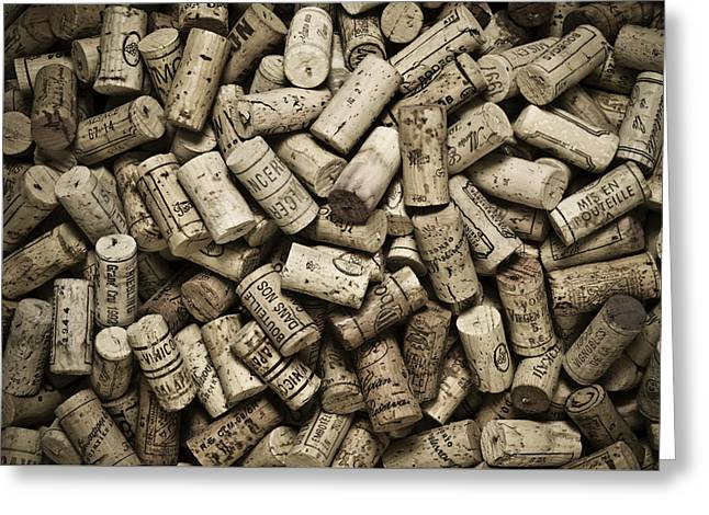 Wine Tasting Greeting Cards - Vintage Wine Corks Greeting Card by Frank Tschakert