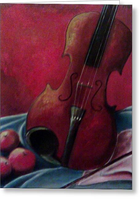 Violin With Apples Greeting Card by Melissa Cruz