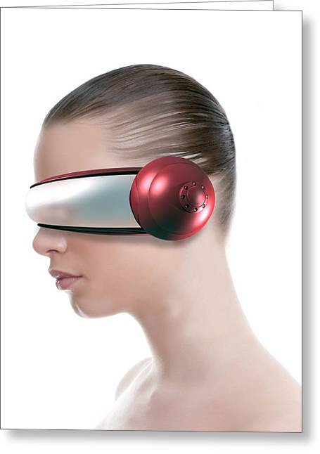 Headset Greeting Cards - Virtual Reality Headset Greeting Card by Victor Habbick Visions