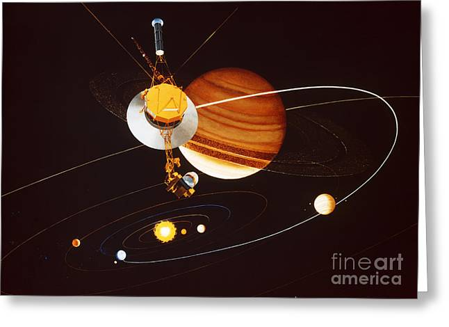 Interstellar Greeting Cards - Voyager Saturn Flyby Artwork Greeting Card by Science Source