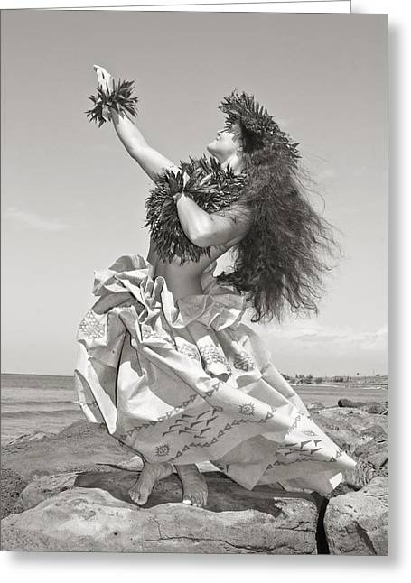Long Skirt Greeting Cards - Wahine Hula Greeting Card by Himani - Printscapes