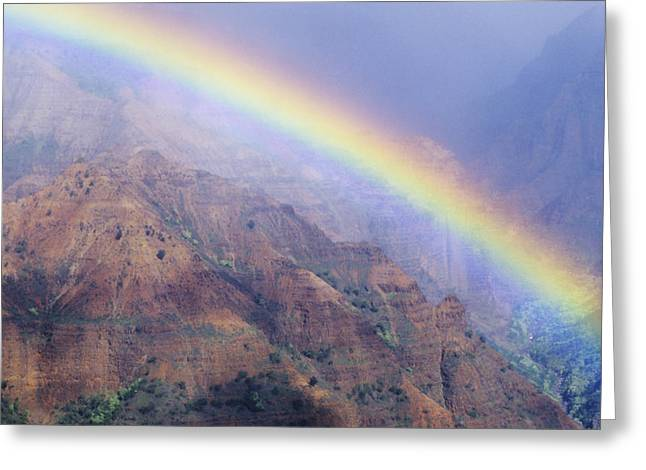 Waimea Valley Greeting Cards - Waimea Canyon Rainbow Greeting Card by Brent Black - Printscapes
