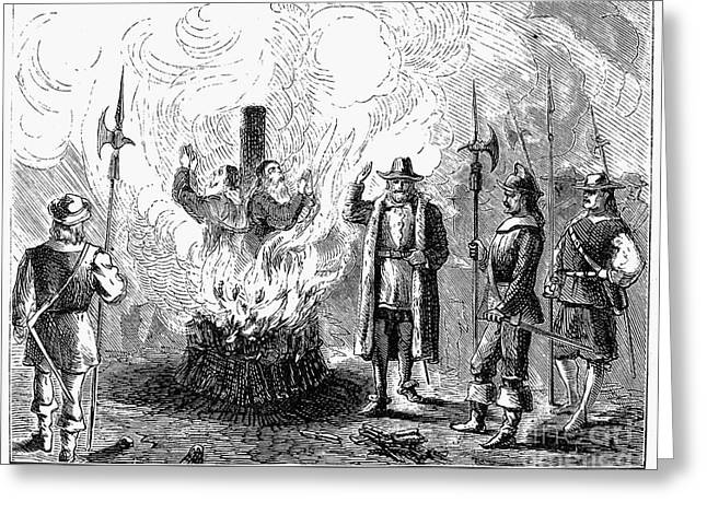 Anti Protestant Greeting Cards - Waldenses Burned Alive Greeting Card by Granger