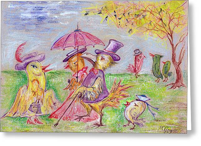 Family Walks Drawings Greeting Cards - Walk Greeting Card by Milen Litchkov