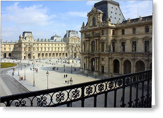 Louvre Greeting Cards - Walking at the Louvre Greeting Card by Susie Weaver