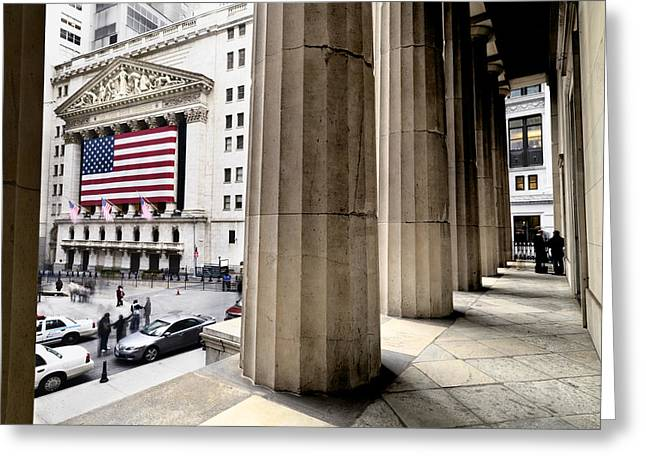 Businesspeople Greeting Cards - Wall Street And The New York Stock Greeting Card by Justin Guariglia