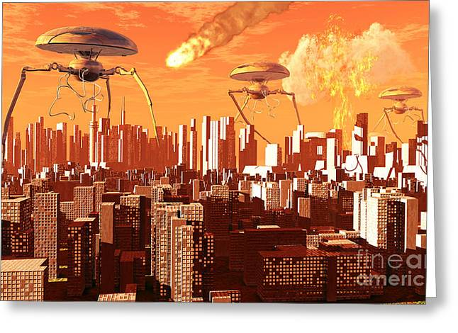 Doomsday Greeting Cards - War Of The Worlds Greeting Card by Mark Stevenson