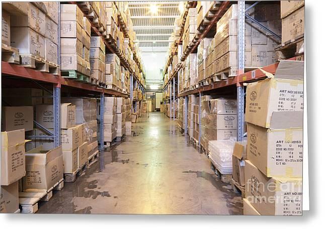 Warehouse Aisle Greeting Card by Magomed Magomedagaev
