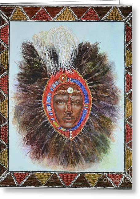 Ostrich Feathers Mixed Media Greeting Cards - Warrior in Beaded Ostrich Headdress Greeting Card by Carol J  South
