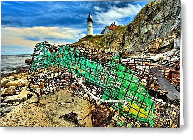 Maine Lighthouses Greeting Cards - Washed Up Greeting Card by Adam Jewell