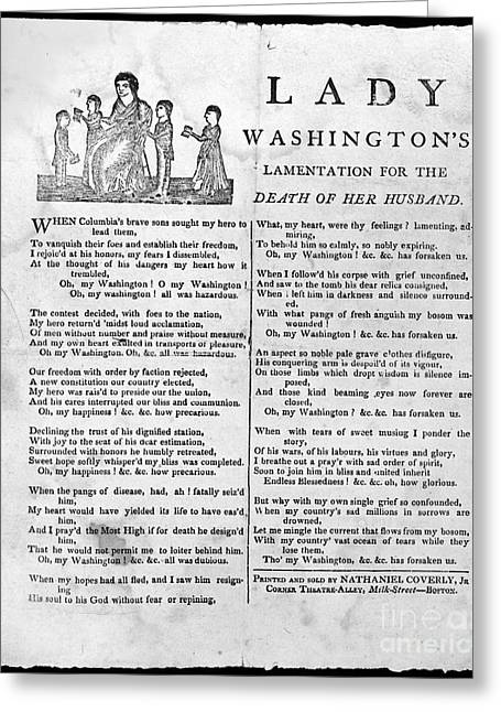 Lady Washington Greeting Cards - Washington: Death, 1799 Greeting Card by Granger