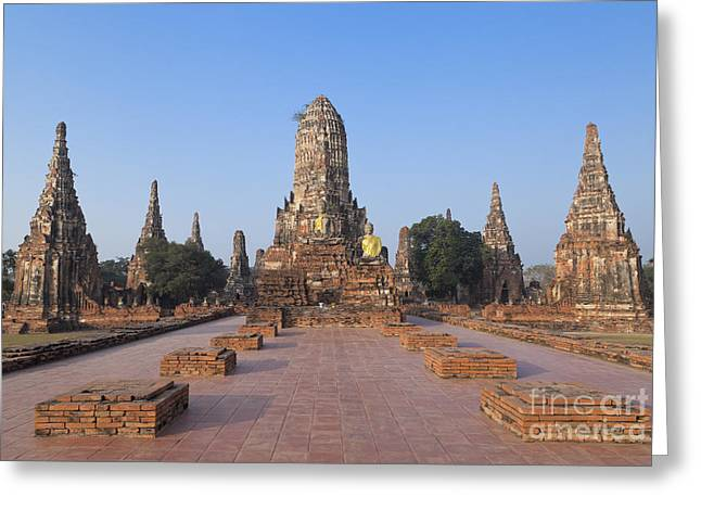 Historic Architecture Greeting Cards - Wat Chaiwatthanaram temple Greeting Card by Roberto Morgenthaler