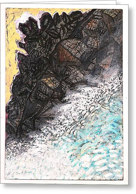 Energize Drawings Greeting Cards - Outcropping And Spring Thaw Greeting Card by Al Goldfarb